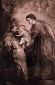 Grabado de Flamenca pintura - San Francisco de Asís, Niño Jesús y Santísima Virgen María (Pierre Paul Rubens)