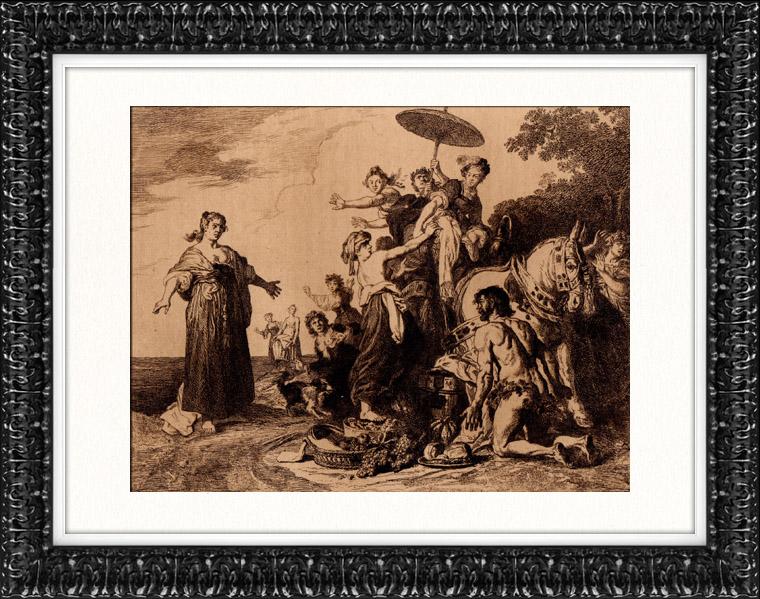 Gravures anciennes   Gravure de Peinture hollandaise - Ulysse et Nausicaa (Pieter Lastman)