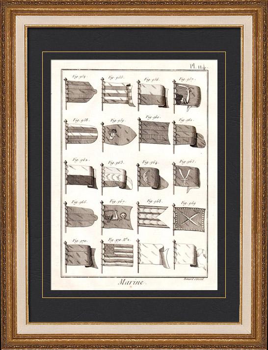 Gravures Anciennes & Dessins   Marine Royale Française - 1787 - Pavillon   Gravure sur cuivre   1787