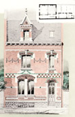 Antique print - Drawing of Architect - Architecture - House in Saint-Quentin - Aisne (M. Israël)