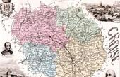 Map of France - 1881 - Creuse (Gu�ret - Pierre d'Aubusson - Sandeau)