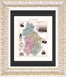 Map of France - 1881 - Jura (Lons-le-Saunier - Rouget de l'Isle - Lecourbe - Gr�vy - Olivet)