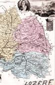 Map of France - 1881 - Lozère (Mende - Urbain V - Chaptal - d'Aurelle de Paladines)