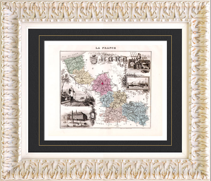 gravures anciennes carte de france 1881 nord lille dunkerque jean bart gravure en. Black Bedroom Furniture Sets. Home Design Ideas