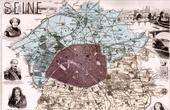 Mapa de Francia - 1881 - Ile de France - Seine (Paris - Georges Sand - Voltaire - Baraguey - Berryer)