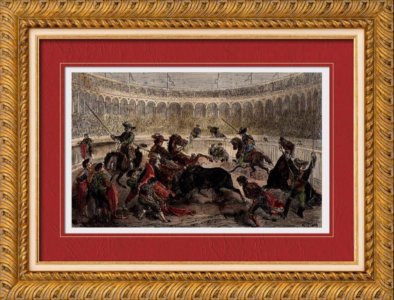 Gravures Anciennes & Dessins   Combat de Taureaux en Espagne (Gustave Doré)   Gravure sur bois   1882