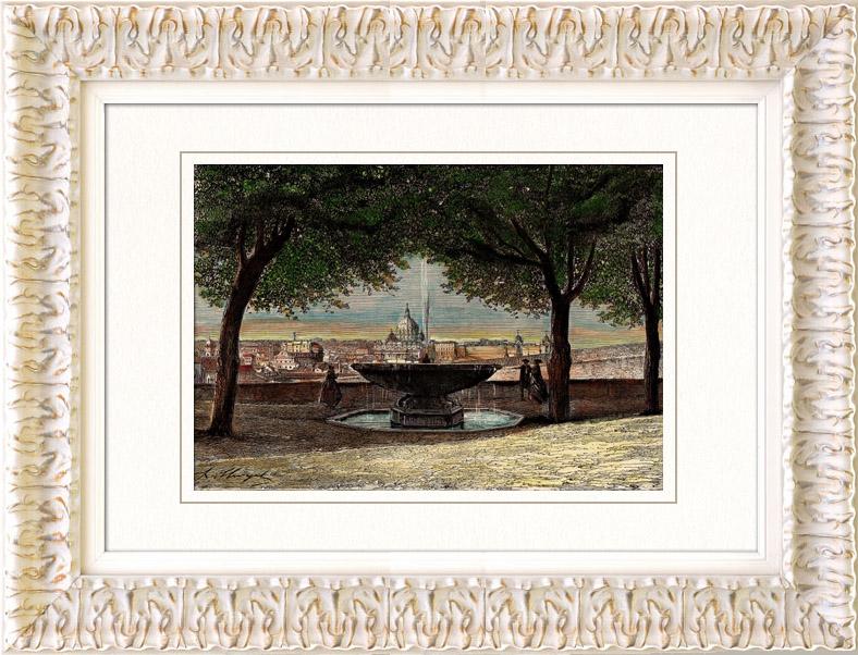 Gravures anciennes vue de rome jardins villa m dicis for Jardin villa medicis rome