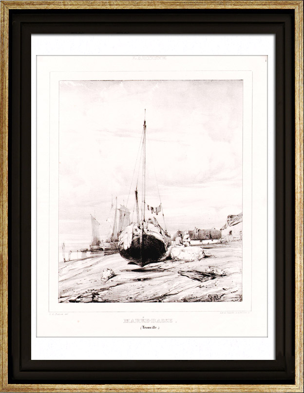 Antique Prints & Drawings | Low tide in Trouville - Seine-Maritime - Haute-Normandie (France) | Lithography | 1830
