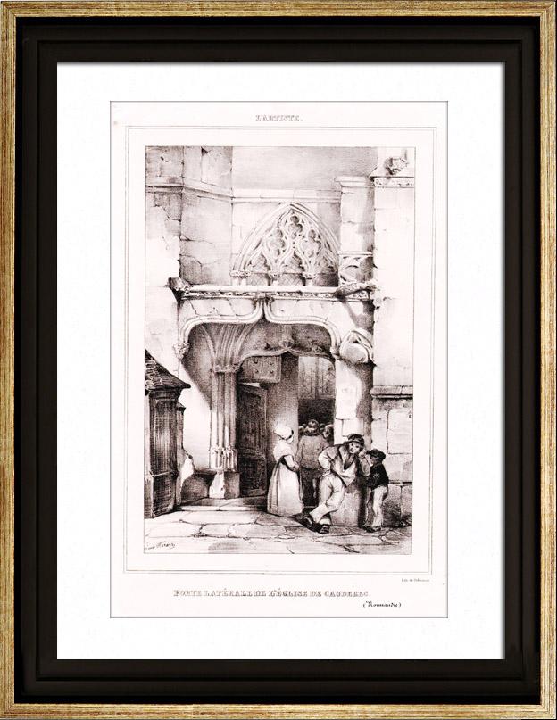 Antique Prints & Drawings | View of Caudebec-en-Caux church - Seine-Maritime - Haute-Normandie (France) | Lithography | 1830
