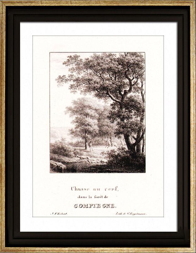 stampe antiche caccia alla cervo in selva di compi gne oise piccardi francia litografia. Black Bedroom Furniture Sets. Home Design Ideas