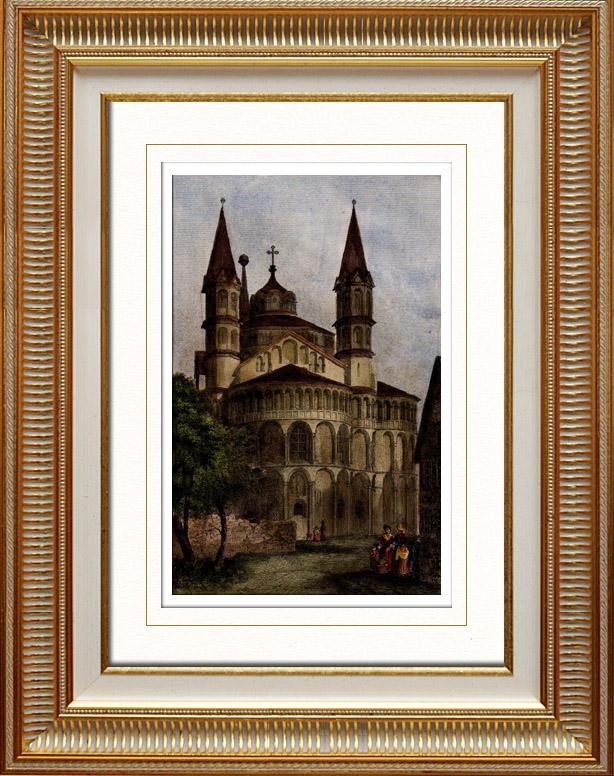Gravures Anciennes & Dessins | L'église Apostolique des Saints Apôtres à Cologne - Rhénanie-du-Nord-Westphalie (Allemagne) | Taille-douce | 1838