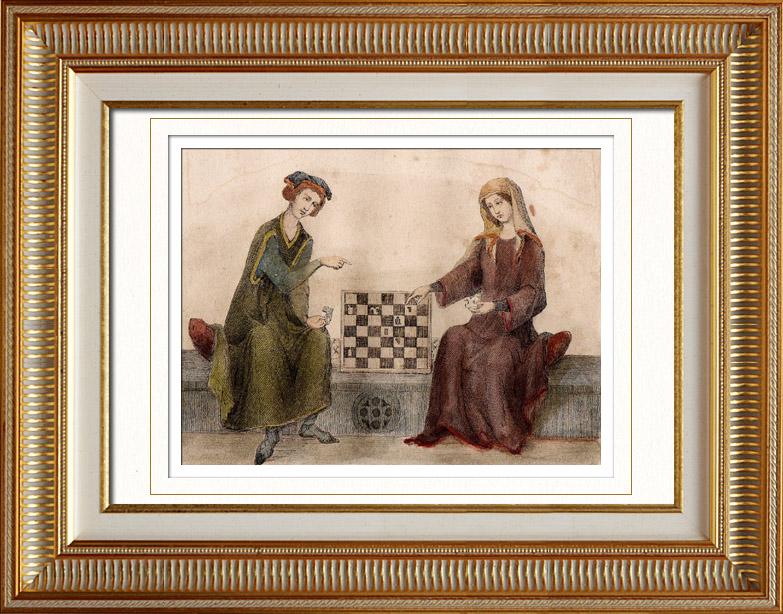 Stampe Antiche & Disegni | Ritratto di Ottone IV di Brandeburgo che Gioca Scacchi con una Donna - Codex Manesse | Stampa calcografica | 1838