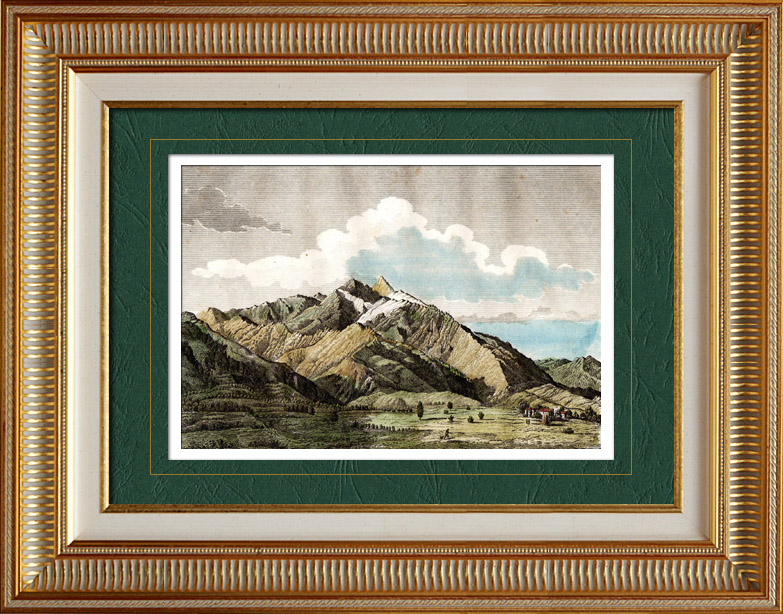 gravures anciennes vue du pic du canigou pyr n es orientales france montagne pyr n es. Black Bedroom Furniture Sets. Home Design Ideas