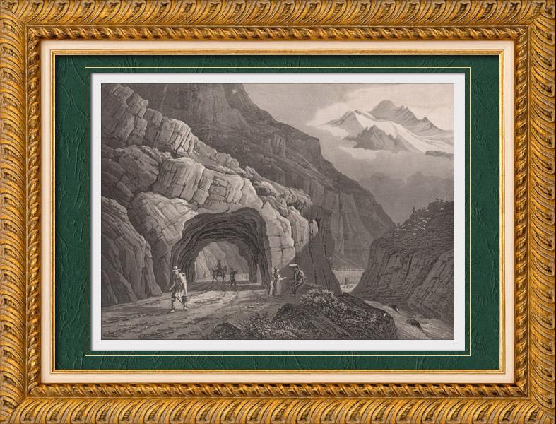 Antique Prints & Drawings | View of the Gotthard Pass - Canton of Uri - Alps (Switzerland) | Aquatint print | 1836