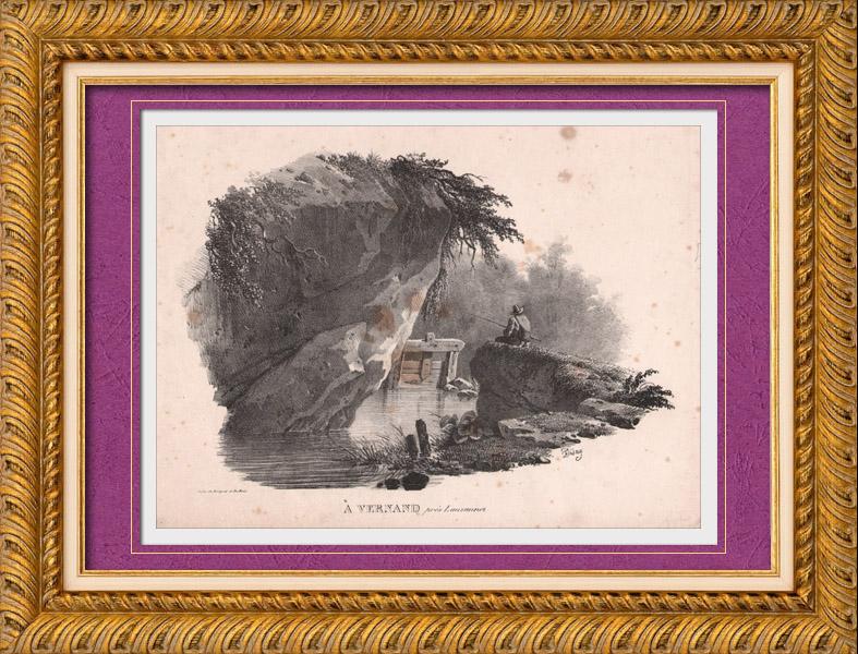 Gravures Anciennes & Dessins | Vue de Vernand - Lausanne - Canton de Vaud (Suisse) | Lithographie | 1830