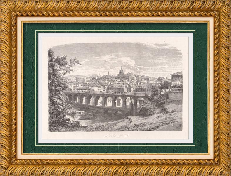 Gravures Anciennes & Dessins | Vue de Lausanne - Grand Pont - Canton de Vaud (Suisse) | Gravure sur bois | 1870