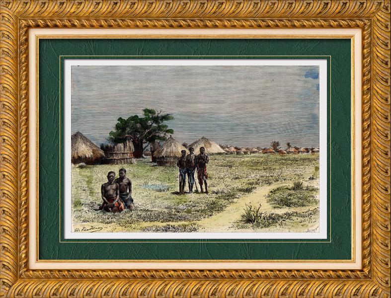 Gravures Anciennes & Dessins | Vue prise à Secheké (Zambie) - Groupe ethnique des Ba-Rotsi | Gravure sur bois | 1888
