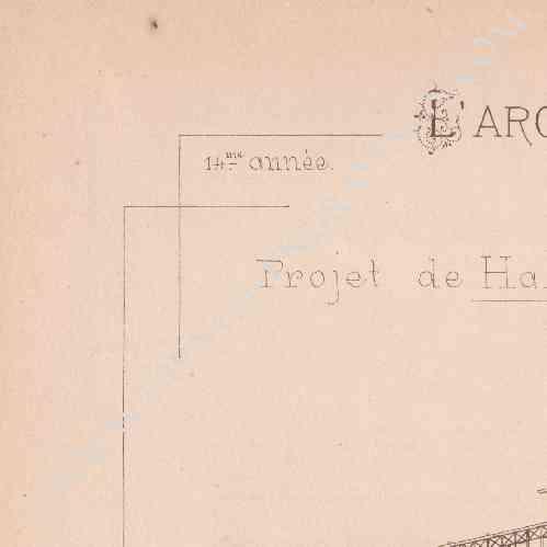 gravures anciennes dessin d 39 architecte b ziers projet de halles centrales mr babet. Black Bedroom Furniture Sets. Home Design Ideas