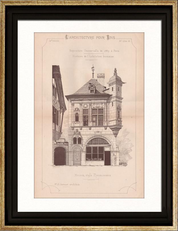 gravures anciennes dessin d 39 architecte maison style renaissance exposition universelle. Black Bedroom Furniture Sets. Home Design Ideas
