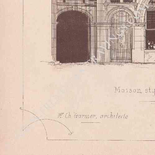 gravures anciennes gravure de dessin d 39 architecte maison style renaissance exposition. Black Bedroom Furniture Sets. Home Design Ideas