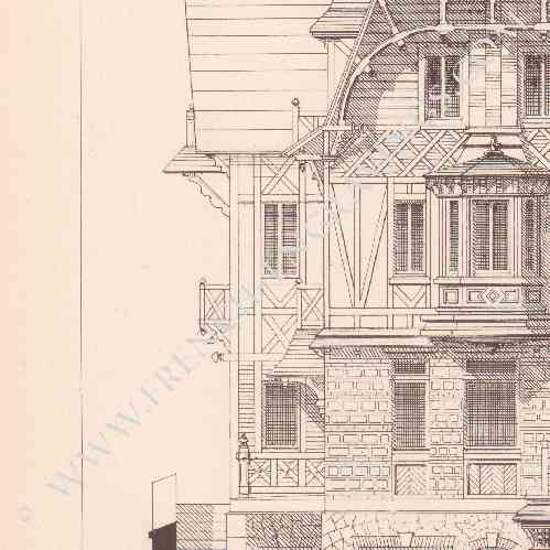 gravures anciennes dessin d 39 architecte nice maison normande de mr masselin mr joliet. Black Bedroom Furniture Sets. Home Design Ideas