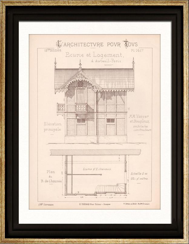 Gravures Anciennes & Dessins   Dessin d'Architecte - Auteuil - Plan d'élévation - Ecurie et Logement (MM. Vaaser et Bougleux Architectes)   Gravure   1891