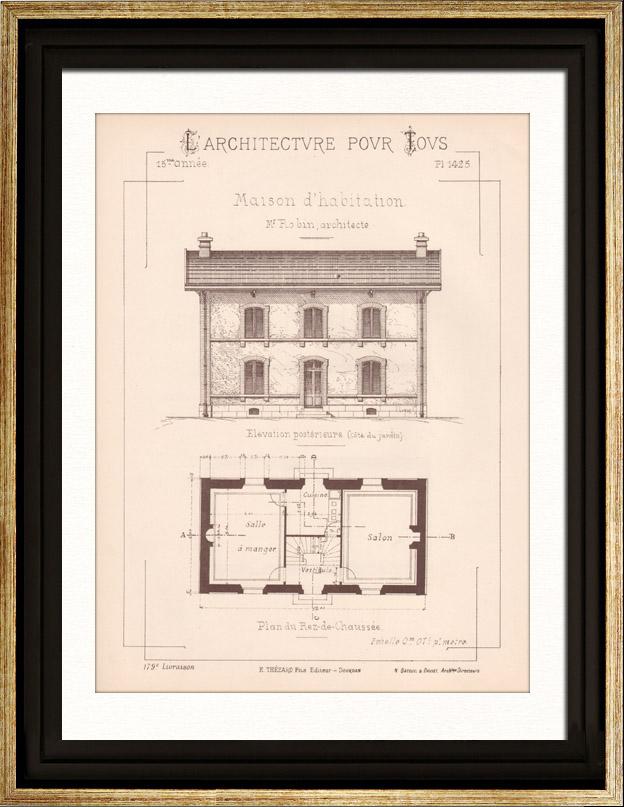 Gravures anciennes gravure de dessin d 39 architecte plan for Plans de maison d habitation