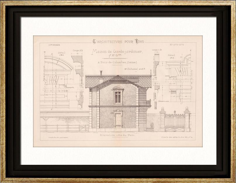 Gravures Anciennes & Dessins   Dessin d'Architecte - Bois-Colombes - Maison du Garde-Jardinier (M. Duhamel Architecte)   Gravure   1891