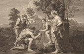 French painting - Et in Arcadia ego - The Arcadian Shepherds (Nicolas Poussin)