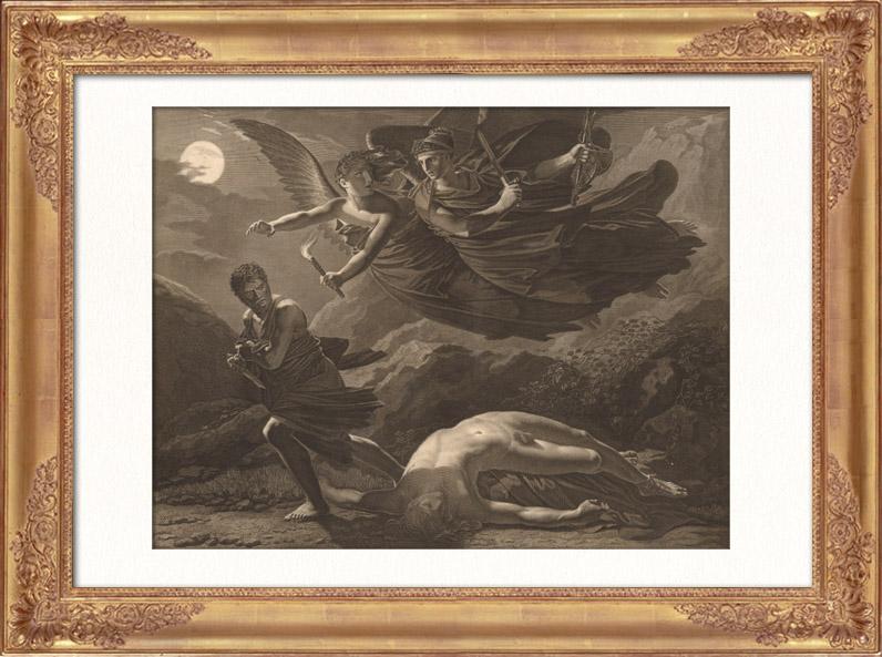 Gravures Anciennes & Dessins | Peinture française - La Justice et la Vengeance Divine poursuivant le Crime (Pierre-Paul Prud'hon) | Taille-douce | 1865
