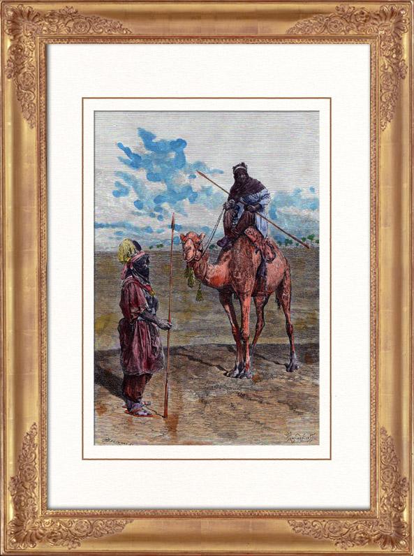 Gravures Anciennes & Dessins   Vue du Sahara - Désert - Afrique - Touaregs - Nomades pastoraux - Chameaux - Costume Traditionnel   Gravure sur bois   1886