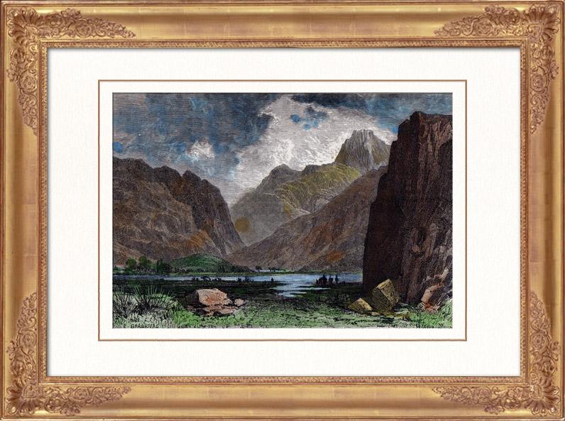 Gravures Anciennes & Dessins | Vue des Gorges de Samaria - Hagia Roumeli - Crète (Grèce) | Gravure sur bois | 1876