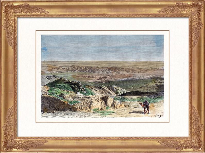 Gravures Anciennes & Dessins | Vue du Sahara - Désert - Afrique - Touaregs - Nomades pastoraux - Chameaux | Gravure sur bois | 1886