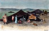Ansicht von Sahara - W�ste - Afrika - Tuareg - N�madas - Altweltkamelen