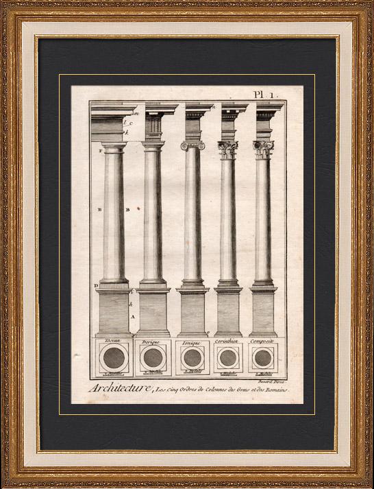 Gravures Anciennes & Dessins | Architecture - 1779 - Ordre Architectural - Ordre Dorique - Ordre ionique - Ordre Corinthien - Ordre Toscan - Ordre Composite | Gravure sur cuivre | 1779