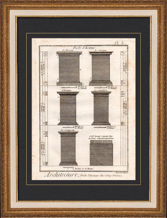 Gravures Anciennes & Dessins | Architecture - 1779 - Ordre Architectural - Piédestal - Ordre Dorique - Ordre ionique - Ordre Corinthien - Ordre Toscan - Ordre Composite | Gravure sur cuivre | 1779