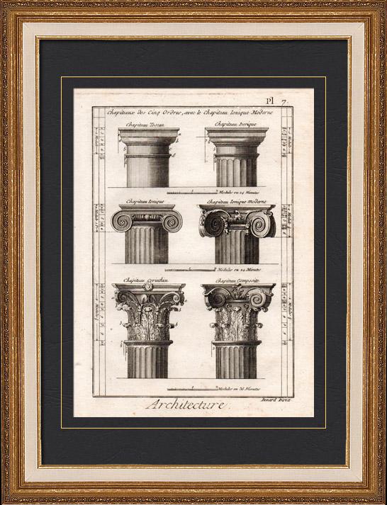 Gravures Anciennes & Dessins | Architecture - 1779 - Ordre Architectural - Chapiteau - Ordre Dorique - Ordre ionique - Ordre Corinthien - Ordre Toscan - Ordre Composite | Gravure sur cuivre | 1779