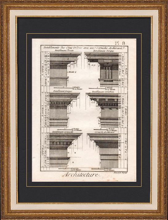 Stampe Antiche & Disegni | Architettura - 1779 - Ordine Architettonico - Entablamento - Ordine Dorico - Ordine ionico - Ordine Corinzio - Ordine Tuscanico - Ordine Composito | Incisione su rame | 1779