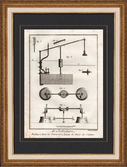 Architecture - 1779 - D�coupe des Pierres - Machine pour Tourner les Bases des Colonnes