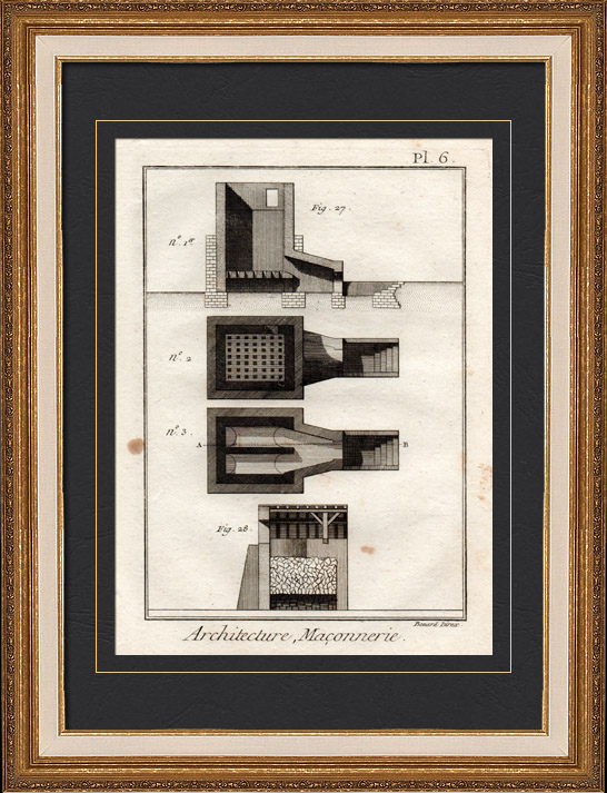 Antique Prints & Drawings | Architecture - 1779 - Masonry - Oven to Manufacture Bricks and Tiles | Copper engraving | 1779