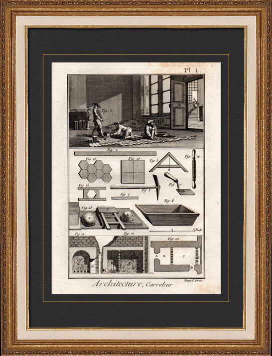 Stampe antiche architettura 1779 piastrellista for Piani di artigiano contemporanei