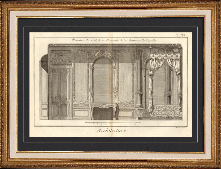 Antique prints architecture 1779 architect 39 s drawing for Chambre de parade