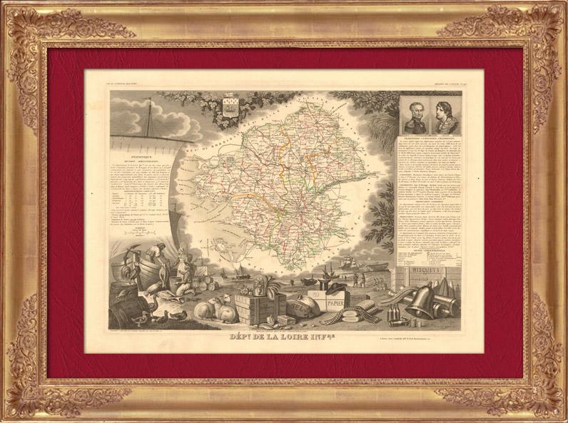 Gravures Anciennes & Dessins | Carte de France - 1850 - Loire-Atlantique - Loire-Inférieure (Cambronne - Abelard) | Taille-douce | 1850