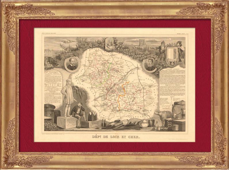 Gravures Anciennes & Dessins   Carte de France - 1850 - Loir-et-Cher (Ronsard - Henri Ier de Guise)   Taille-douce   1850