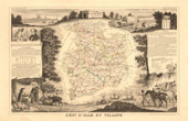 Map of France - 1850 - Ille-et-Vilaine (Dugay-Trouin - Chateaubriand)