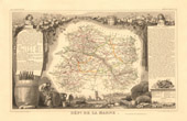 Map of France - 1850 - Marne (Cardinal de Retz - Colbert)