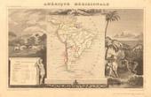 Alte Plan von Südamerika - 1850