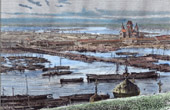 View of Nizhny Novgorod - Volga - Oka - Trade (Russia)