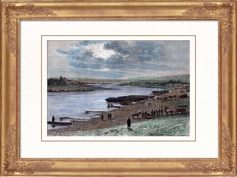 Antique Prints & Drawings | View of Dniester River - Eastern Europe (Ukraine - Moldavia) | Wood engraving | 1880