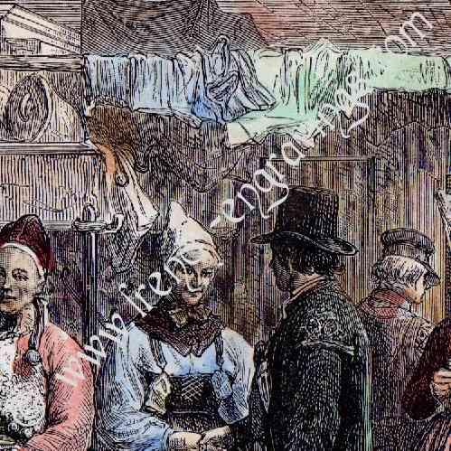 Gravures anciennes costume typique su dois su de for Acheter maison suede